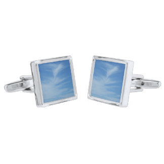 Blue Sky with White Clouds Abstract Nature Photo Silver Finish Cuff Links
