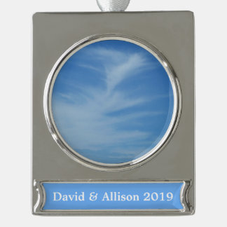 Blue Sky with White Clouds Abstract Nature Photo Silver Plated Banner Ornament