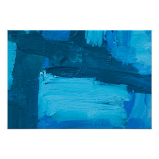Blue Slash Abstract Expressionist Acrylic Poster