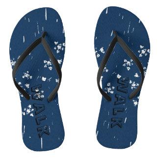 Blue slim strap flip flops