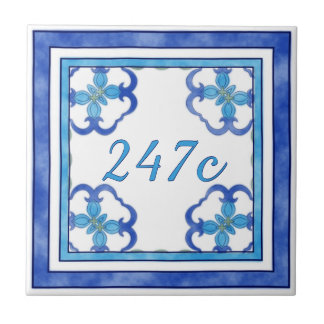 Blue Small House Number Small Square Tile