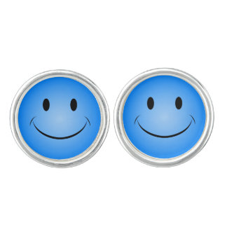 Blue Smiley Face Cuff Links