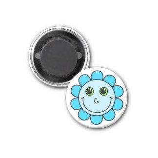 Blue Smiley Face Flower 3 Cm Round Magnet