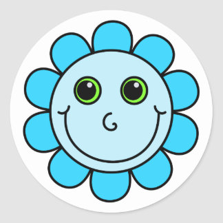 Blue Smiley Face Flower Round Sticker