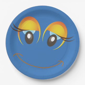 Blue Smiley Face Laugh Emoticon Birthday Party 9 Inch Paper Plate