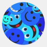 BLUE SMILEYS COLLAGE ROUND STICKER