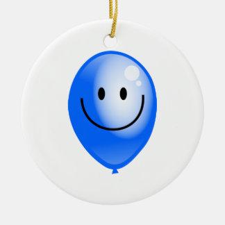 Blue Smilie Balloon Christmas Ornament