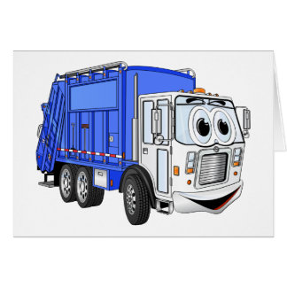 Blue Smiling Cartoon Garbage Truck Greeting Card