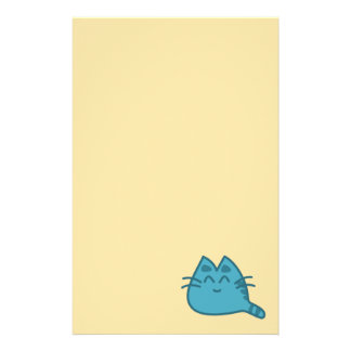 Blue Smiling Kitty Cat Stationery