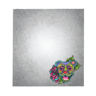Blue Smiling Pit Bull Day of the Dead Sugar Skull Notepad