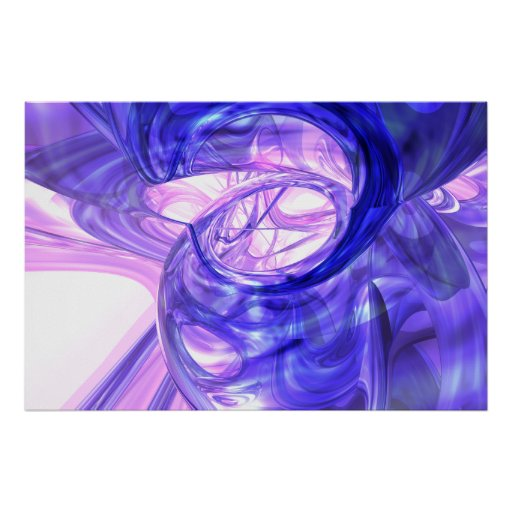Blue Smoke Abstract Poster