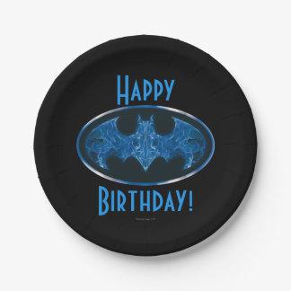 Blue Smoke Bat Symbol 7 Inch Paper Plate