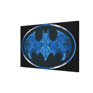 Blue Smoke Bat Symbol Canvas Print