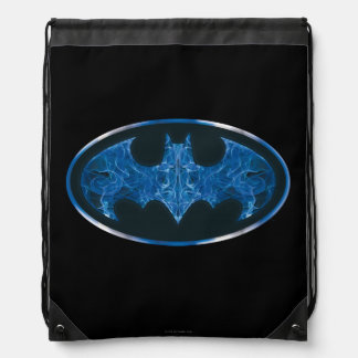 Blue Smoke Bat Symbol Drawstring Bag