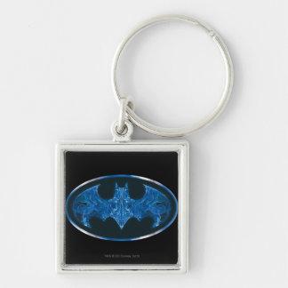 Blue Smoke Bat Symbol Silver-Colored Square Key Ring