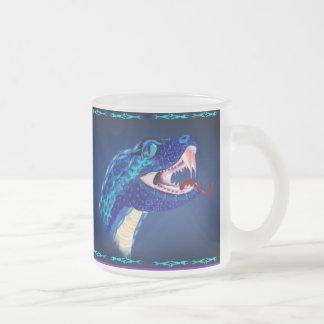 Blue Snake Head Frosted Glass Coffee Mug