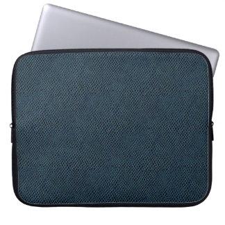 Blue Snake Skin Leather Laptop Computer Sleeve