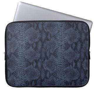 Blue Snake Skin Leather Laptop Computer Sleeves