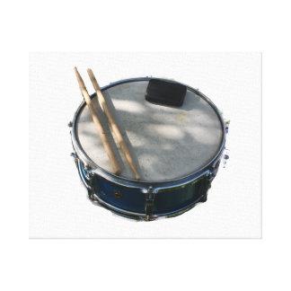 Blue Snare Drum Drumsticks and Muffler Canvas Prints