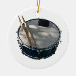 Blue Snare Drum Drumsticks and Muffler Round Ceramic Decoration