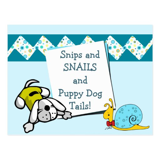 Blue Snips and Snails Birthday Announcement Postcards