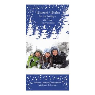 Blue Snow Christmas Tree Photo Christmas Custom Photo Card