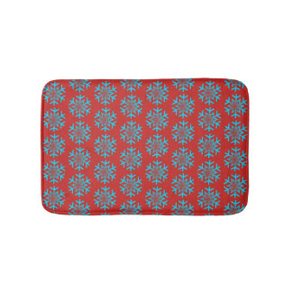 Blue Snow Flakes Red Small Bath Mat