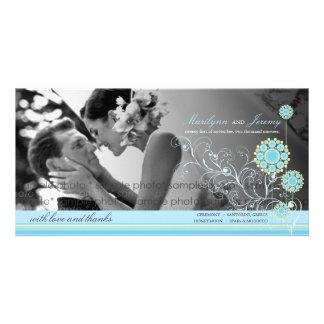 Blue Snow Flower Swirls Winter Wedding Thank You Custom Photo Card