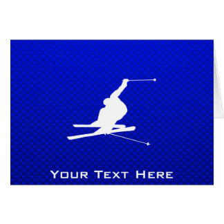 Blue Snow Skiing Card