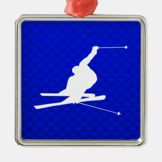 Blue Snow Skiing Christmas Ornament