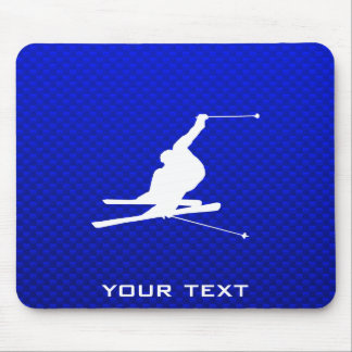Blue Snow Skiing Mouse Mat