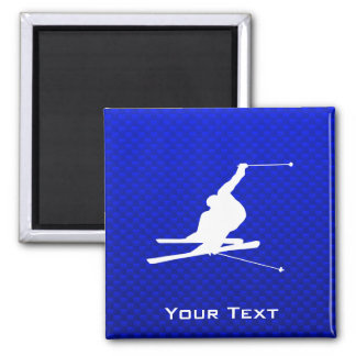 Blue Snow Skiing Square Magnet