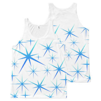Blue snowflake All-Over print tank top