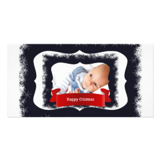 Blue Snowflake Baby Photo Frame Personalized Photo Card
