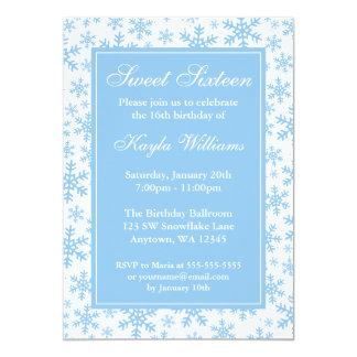 Blue Snowflake Border Winter Wonderland Sweet 16 Card