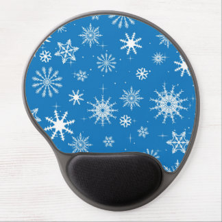 Blue Snowflake Christmas Design Gel Mouse Mat