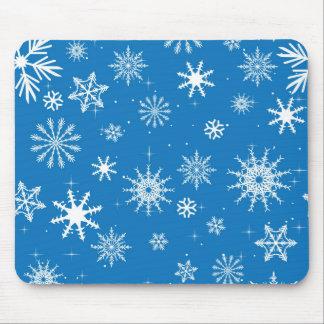 Blue Snowflake Christmas Design Mouse Pad