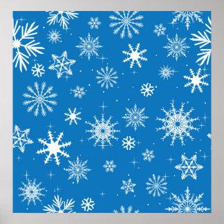 Blue Snowflake Christmas Design Print