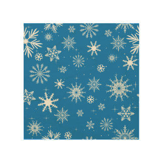 Blue Snowflake Christmas Design Wood Prints