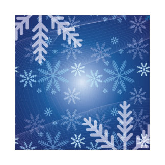 Blue Snowflake Christmas Pattern Gallery Wrap Canvas