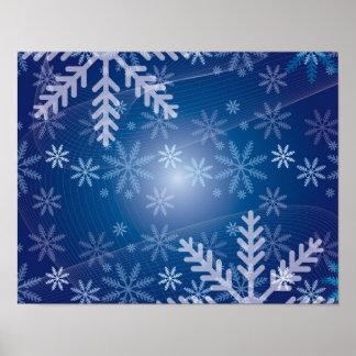 Blue Snowflake Christmas Pattern Print