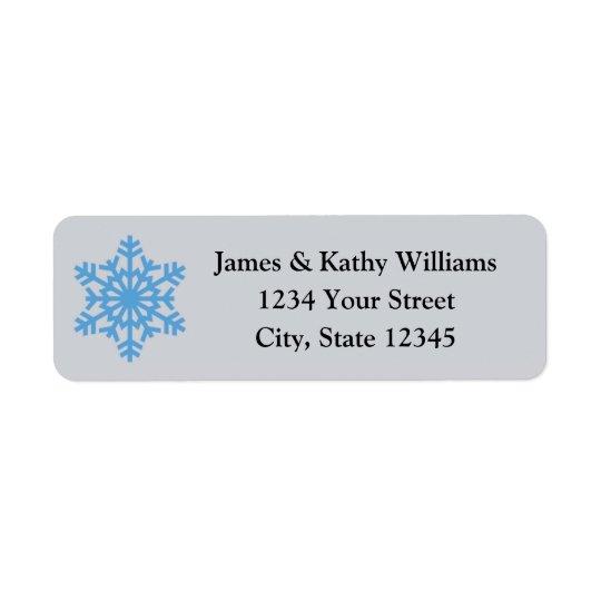 Blue Snowflake Christmas Return Address Labels