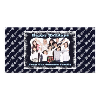 Blue Snowflake Family Picture PhotoCard Customized Photo Card