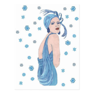 Blue Snowflake Flapper Post Cards