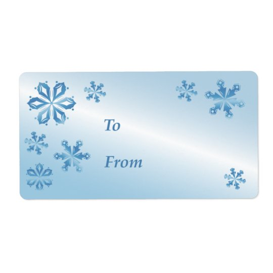 Blue Snowflake Gift Tag, Gift Label Shipping Label