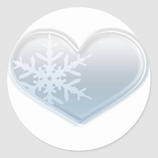 blue snowflake heart classic round sticker