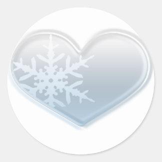 blue snowflake heart round sticker