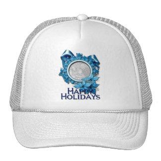 Blue Snowflake INSERT YOUR PHOTO Trucker Hat