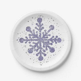 "Blue Snowflake ""Let it Snow"" Plate"