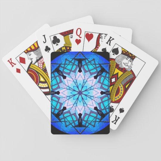 Blue Snowflake Mandala Poker Deck